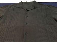 Vintage Silk Shirt Bowling Charlie Sheen Medium M All Black