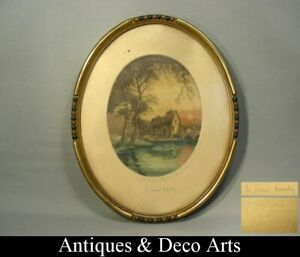 Hand Coloured Signed French Engraving of a Watermill in Oval Wood Frame