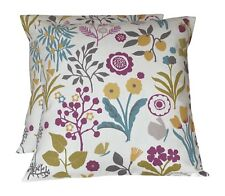 2 x Studio G Frida Heather Purple Green Yellow Floral Cushion Covers