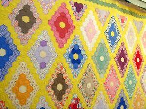 Vintage 30's 40's Diamond flower garden Quilt Hand stitched