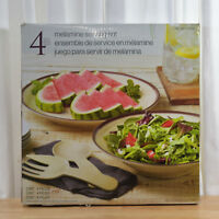 4 Pc Melamine Food Serving Set Salad Dinner Service Fork, Spoon, Platter & Bowl