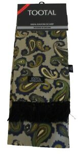 Tootal Vintage Parka Green Paisley 100% Rayon Printed Scarf