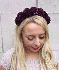 Dark Purple Pom Pom Flower Headband Festival Hair Crown Headpiece Goth Punk 3269