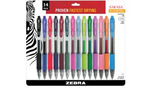 Zebra Sarasa Dry X20 Retractable Gel Pen, 0.7mm Tip, Assorted Colors, Pack of 14