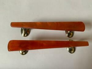 2x Vintage Retro Wilbec Red / Orange Plastic Cupboard Drawer Pull Handle #1529