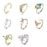 Voroco DIY Open Finger Ring Mermaid Unicorn S925 Sterling Silver Women Jewelry