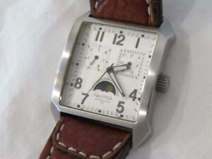 Men's Nautica Stainless Moon Phase Lumi Watch Day/Date Brown Leather Band