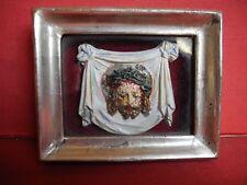 Religiöse Volkskunst dornengekrönter Christus - Kopf um 1860 im Blattgoldrahmen