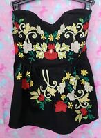 Two Of Us Anthropologie Floral Embroidered Strapless Peplum Top Size 0