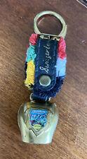 Vintage Keychain Switzerland Murren Swiss Alps Cow Bell Souvenir