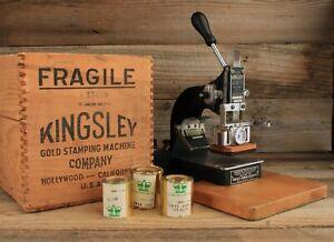 Antique Kingsley Gold Foil Stamping Machine in Original Wood Box