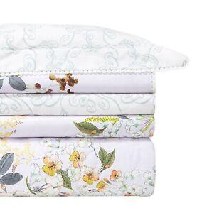 Yves Delorme Louise King Flat Sheet Floral Lavender Light Purple Cotton Percale
