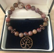 AMERICAN WESTERN POLISHED GEMSTONE & COPPER BRACELET WITH TREE OF LIFE