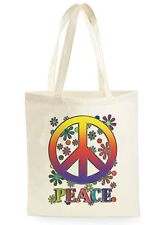 PEACE SIGN FLOWER POSTER COOL SHOPPING CANVAS TOTE BAG IDEAL GIFT PRESENT