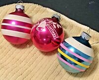 Vintage Shiny Brite Glass Ball Ornaments Made in USA Lot of 3