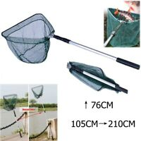 Folding Handle Fishing Landing Net 3 Section Extending Pole Aluminum Handle NEW