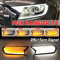 Dynamic LED Head Light Front Shell Cover Trim For Ford Ranger T6 Wildtrak