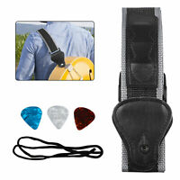 Guitar Nylon Strap Guitar Pick Holder with 3 Picks for Electric Acoustic Guitar