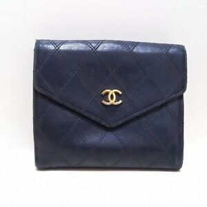 Auth CHANEL Bicolore A01414 Black Lambskin Double-hook Wallet