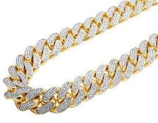 Solid 14k Yellow Gold Heavy Miami Cuban Link Kilo Diamond Chain Necklace 53.5 Ct