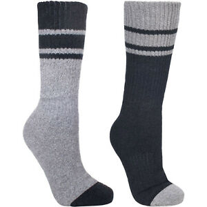 Trespass Mens Anti-Blister 2-Pack Walking Hiking Hitched Socks - Grey - 7-11 UK