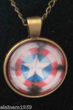 "Captain America Cabachon glass dome Necklace Pendant.20"" chain"