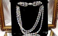 Art Deco Aurora Borealis glass beads Three strand necklace.