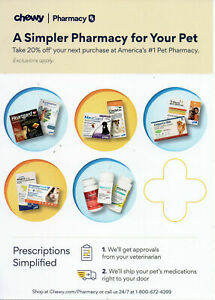 Chewy.com Pharmacy Coupon Code: 20% Off Your Rx Purchase up to $30 Exp.10/31/21