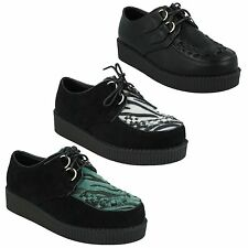 SALE LADIES SPOT ON LACE UP SUEDE CASUAL PLATFORM WEDGE CREEPERS SHOES F95588