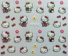 Nail Art 3D Glitter Decal Stickers Hello Kitty Bows Flowers XF311