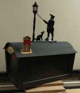 LAMPLIGHTER / DOG  Mailbox topper / ornament,.Solid STURDY CAST aluminum