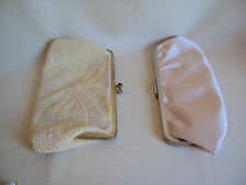 USED NIGHT PURSES BEIGE AND PINK WITH CLASP AND CHAIN SET OF TWO VALERIE STEVENS