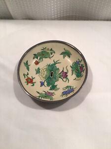 Vintage Japanese Porcelain Bowl Set in Pewter Casing Hand Decorated in Hong Kong