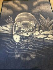 Biederlack Blanket Cat Kitten Reflection Large Throw  Ivory & Blue Gray German