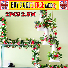2x8Ft Artificial Faux Flower Silk Rose Leaf Garland Vine Ivy Home Party Decor ^^