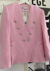 BNWT Zara Pink Textured Weave  Boucle Jacket Blazer UK M 10-12 Shoulder Pads