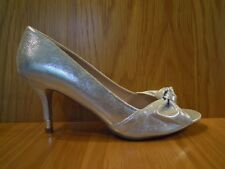 Kurt Geiger Ladies Shoes Size 7 Silver Peep Toe Court Shoe Kitten Heel Miss KG