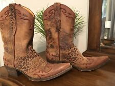 NEW OLD GRINGO Villa leopard print brushed leather western cowboy boots Rare 8.5
