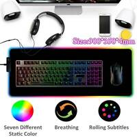 RGB Colorful LED Lighting Gaming Mouse Pad Mat 900X350mm for PC Laptop UK