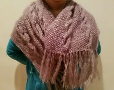 hand-knitted angora cashmere long scarf (camel)