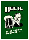 """BEER Helping Ugly people A2 CANVAS PRINT Art Poster GREEN 18""""X 24"""""""