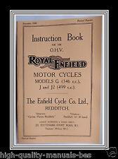 Royal Enfield Models G (346 c.c.) J & J2 (499 c.c.) Instruction Manual Booklet