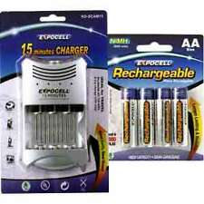 15 Minutes AA / AAA Charger with FREE 4 AA 2600 mAh High Capacity NiMH Batteries