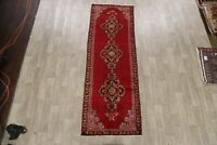 Vintage Geometric RED Lilihan Hand-Knotted 10 ft Runner Rug Oriental Carpet 3x10
