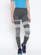 Reebok Grey Stripped Seamless Tights Printed Size S Studio Activewear UK 8 Long