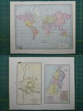 The World Palestine Vintage Original 1895 Crams World Atlas Map Lot