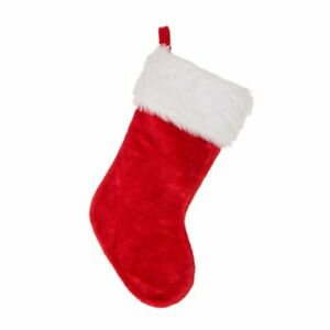 PLAIN RED CHRISTMAS STOCKING - Beautiful Plush Xmas Sack - HOT SELLER