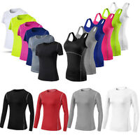 Women Workout Gym Yoga Running Vest Base Layer Tight Tank Tops T-Shirt Slim Fit
