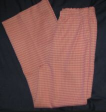 Retro Vintage Women Bellbottoms Bell Bottom Pants B 9 Pink White Gingham Funky