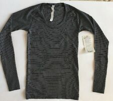 NWT Lululemon Swiftly Tech LS scoop black white sz 6
